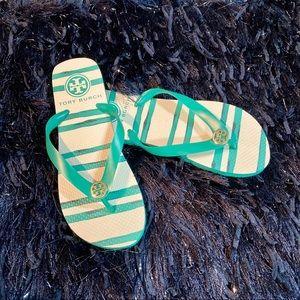 Tory Burch NWOT Sandals Flip-Flops Turquoise Sz 7